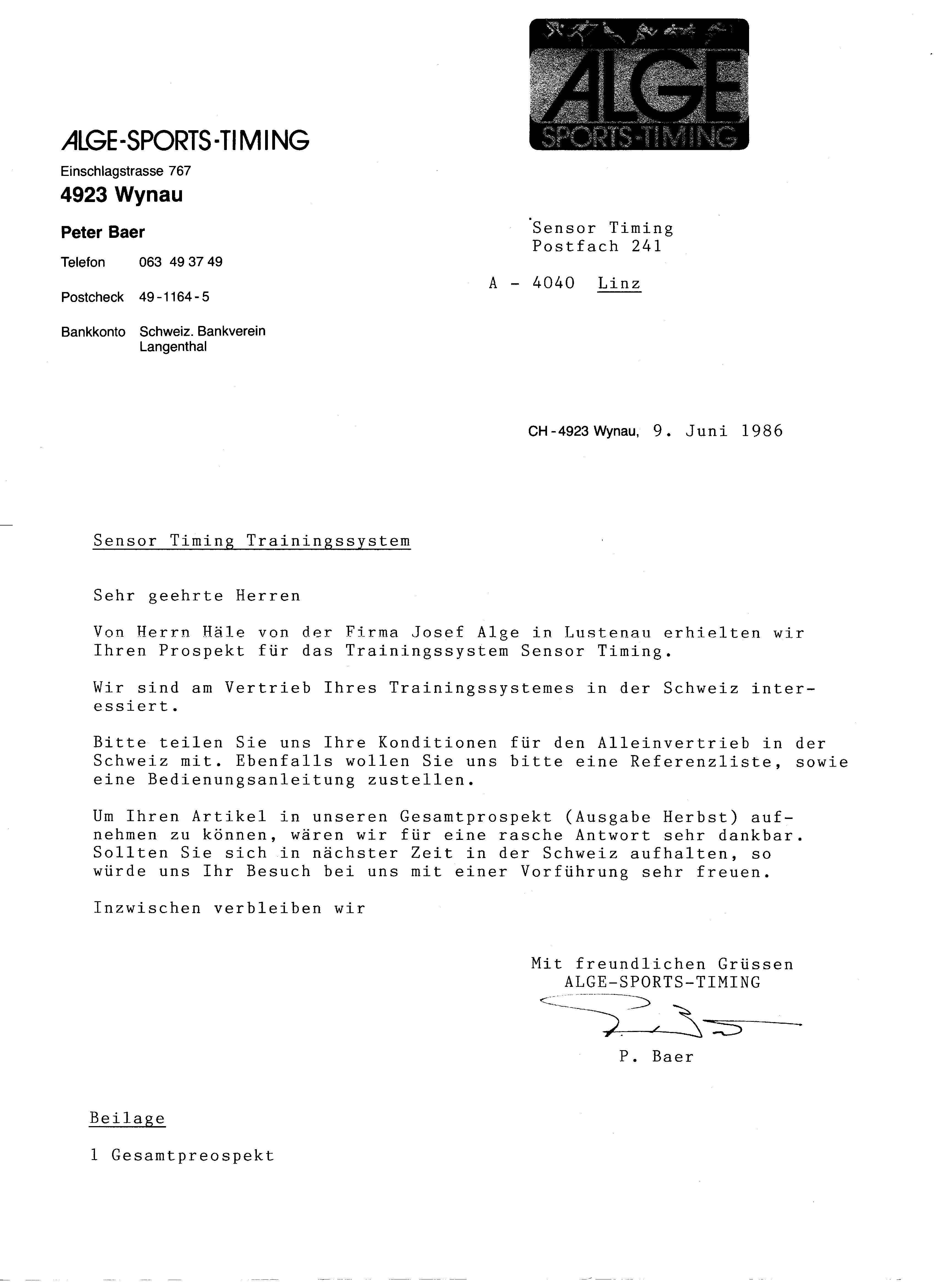 peter baer fr die schweiz und die fa fairplay echner fr deutschland im juni 1986 kam es in bozen zur bergabe von ca 20 mustergerten - Verzichtserklarung Muster